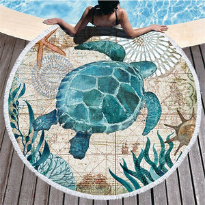 Turtle Print Round Beach Towel