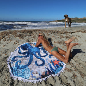 Octopus Print Round Beach Towel