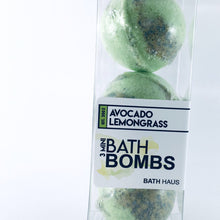 Load image into Gallery viewer, Avocado Lemongrass Bath Bomb 3 Pack - BATH HAUS & CO.
