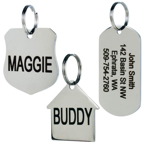 GoTags Stainless Steel Pet ID Tags, Personalized Dog Tags and Cat Tags, up to 8 Lines of Custom Text