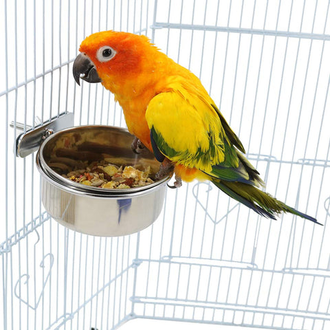 Bird Cage Seed Feeder Pet Food Water Bowl Stainless Steel