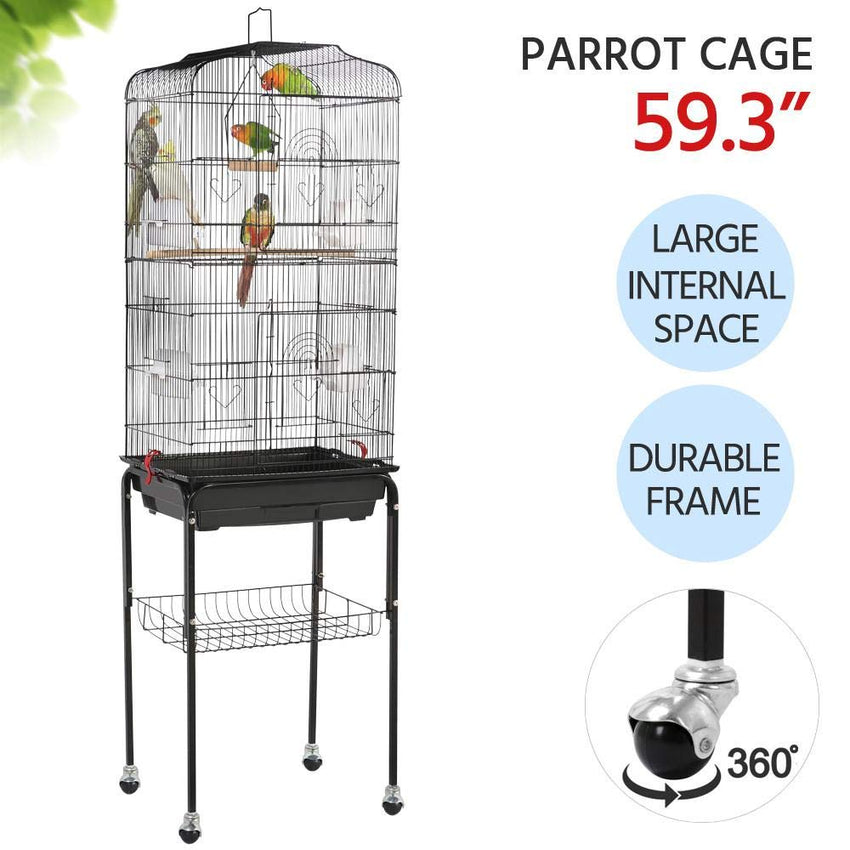 Yaheetech 59.3-inch Standing Medium Small Parrot Parakeet Bird Cages with Rolling Stand