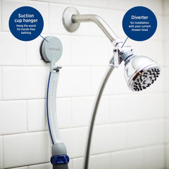 "Waterpik PPR-252 Pet Wand Pro Shower Sprayer Attachment, 13"", for Fast and Easy at Home Dog Cleaning, Blue/Grey"
