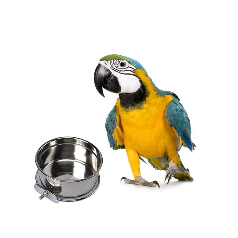 Mrli Pet Food & Water Bird Cup with Clamp Holder Stainless Steel