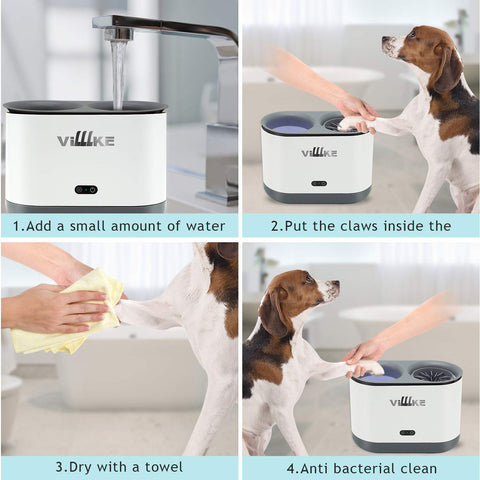 Electric Dog Paw Cleaner, VILLLKE Automatic Washer with Comfortable Silicone Massage for Puppy, Cats Muddy Paw