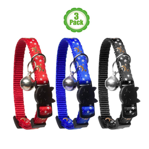 Cat Collar Stars and Moon, 3-Pack, Reflective with Bell, Solid & Safe Collars for Cats