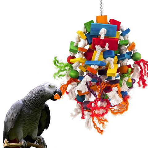 MEWTOGO Large and Small Parrot Toy - Multicolored Wooden Blocks Tearing Toys for Birds