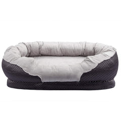 Pet Deluxe Dog and Puppy Bed, Grooved Orthopedic Foam Beds with Removable Washable Cover, Ultra Comfort
