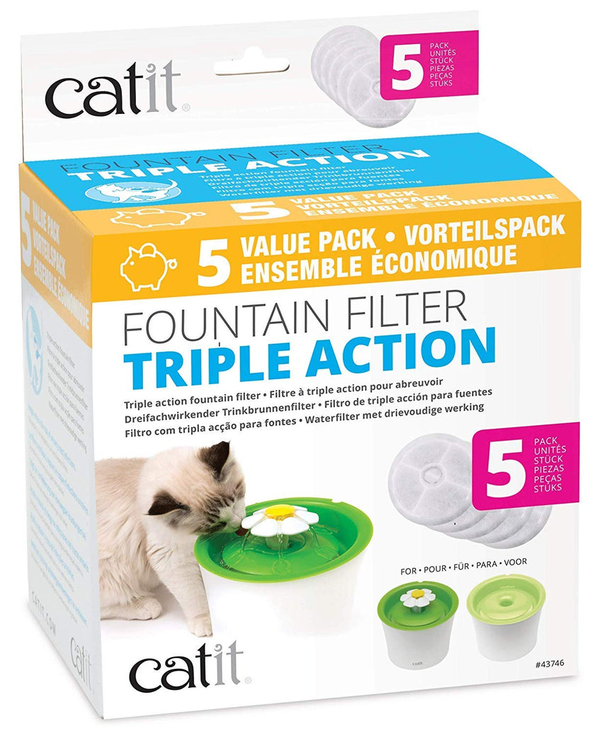 Catit Cat Water Fountain Replacement Filters, Triple Action Filters for Flower Water Fountain Dispenser, Pack of 5
