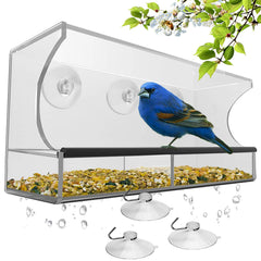 Window Bird Feeder with Strong Suction Cups and Seed Tray, Outdoor Birdfeeders for Wild Birds