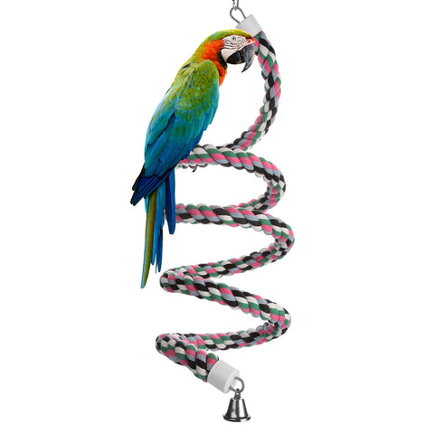 Aigou Bird Spiral Rope Perch, Cotton Parrot Swing Climbing Standing Toys with Bell