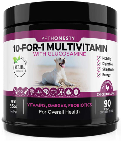 10 in 1 Dog Multivitamin with Glucosamine - Essential Dog Vitamins with Glucosamine Chondroitin