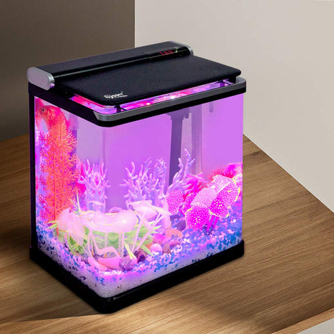Hygger 4 Gallon Smart Aquarium Planted Tank Touchscreen with Flip Lid, 3-in-1 Water Pump, LED Light Hood and 2 Filter Cartridges, Betta Fish Tank Starter Kit