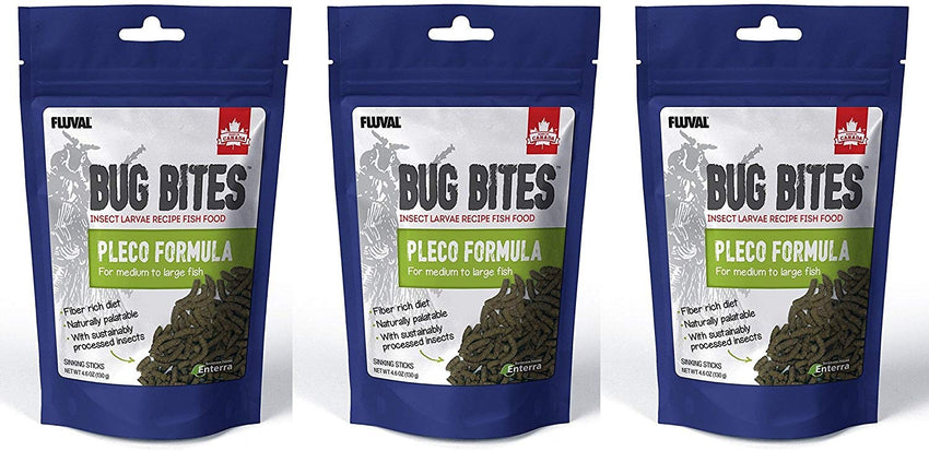 (3 Pack) Fluval Bug Bites Bottom Feeder Pleco Formula for Medium to Large Fish