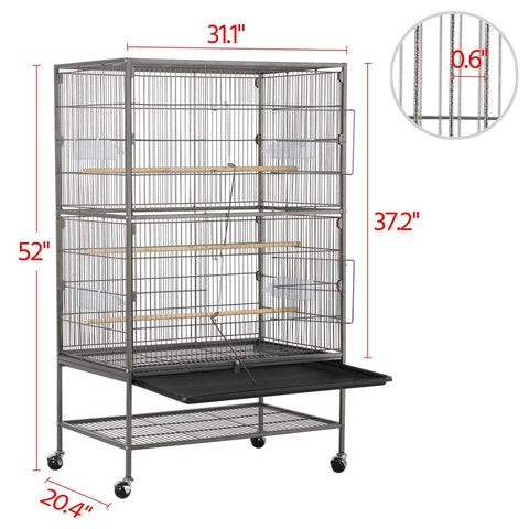 Yaheetech 52-inch Wrought Iron Standing Large Flight King Bird Cage for Cockatiels African Grey Quaker