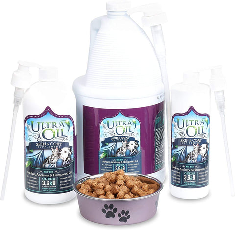 Ultra Oil Skin and Coat Supplement For Dogs and Cats With Hemp Seed Oil, Flaxseed Oil, Grape Seed Oil, Fish Oil For Relief From Dry Itchy Skin, Dull Coat, Hot Spots, Dandruff, and Allergies