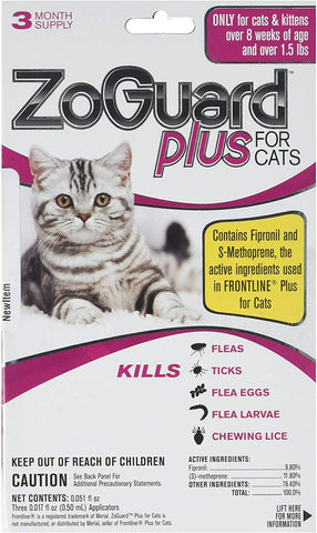 ZoGuard Plus - Cat (Over 1.5 lbs) (3 dose) flea tick lice flea Eggs Larvae Kills Prevent. Better Than Spray Powder Collar