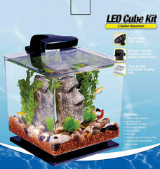 Tetra GloFish 3 Gallon Aquarium Kit Fish Tank with LED Lighting and Filtration Included