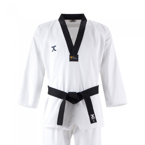 JC Champion Black V Neck Taekwondo Dan Uniform - WT Approved