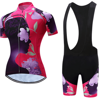 Teleyi Woman's Flower Cycling Bib Kit - Pedal the Metal