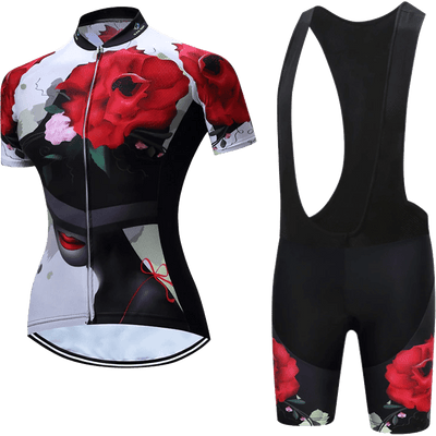 Teleyi Woman's Rose Cycling Bib Kit - Pedal the Metal