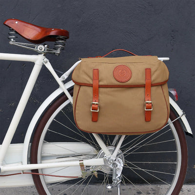 Vintage Dual Waterproof Canvas Pannier Bag - Pedal the Metal
