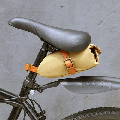 Vintage Khaki Canvas Saddle Bag - Pedal the Metal