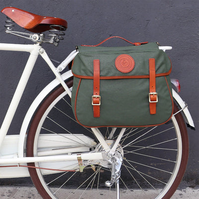 Vintage Waterproof Canvas Dual Pannier - Pedal the Metal