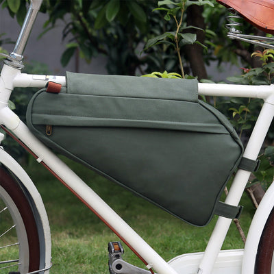 Vintage Waterproof Canvas Zippered Frame Bag - Pedal the Metal