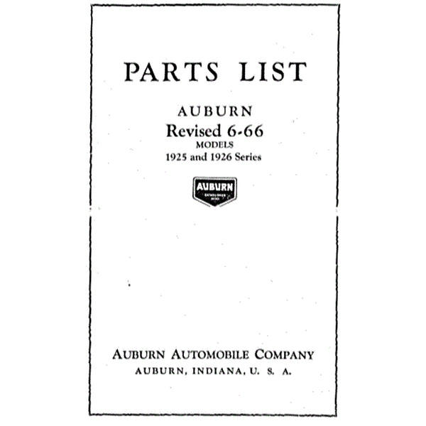 1926 Auburn 6-66 Parts List revised
