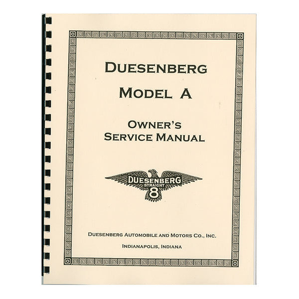 1921-1926 Duesenberg Model A Owner's Manual