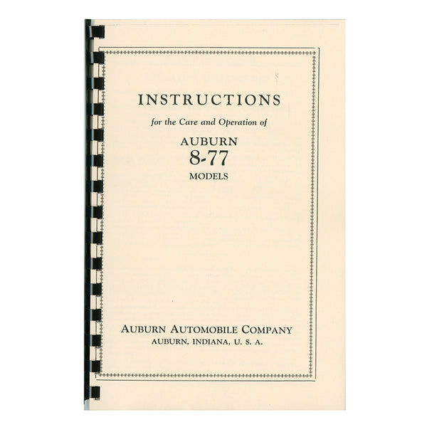 1927 Auburn 8-77 Owner's Manual