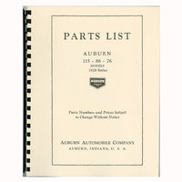 1928 Auburn Parts List