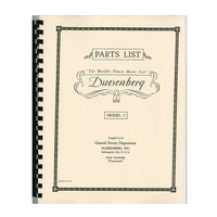 1929-1937 Duesenberg J Parts Manual
