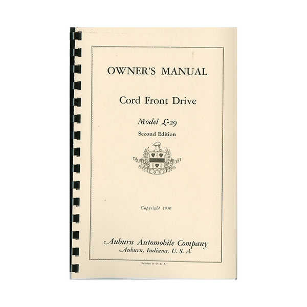 1929-1931 Cord L-29 Owner's Manual