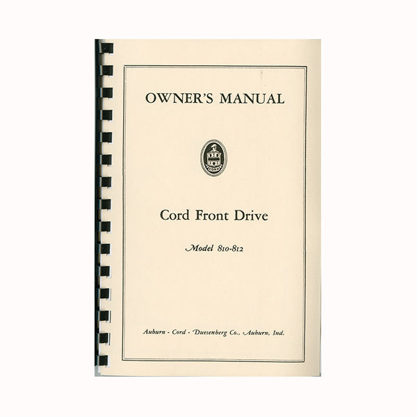 1936-1937 Cord 810/812 Owner's Manual