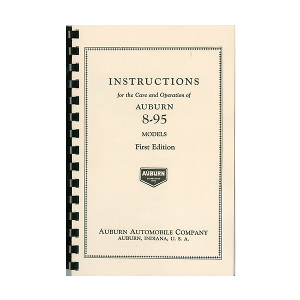 1930 Auburn 8-95 Owner's Manual