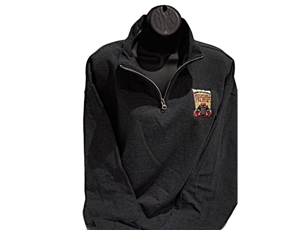 Heather Grey 1/4 zip Fleece Museum logo