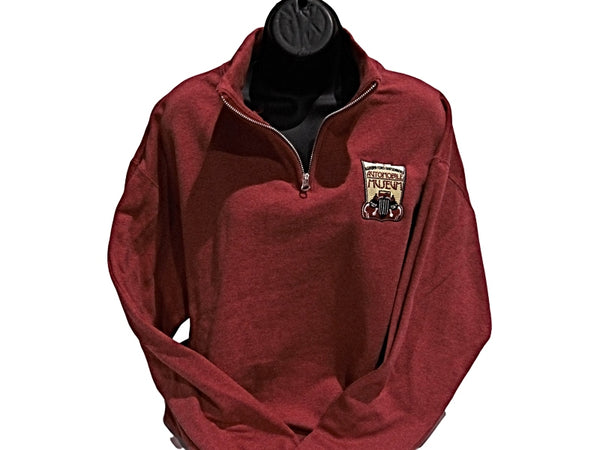 Heather Red 1/4 zip Fleece Museum logo