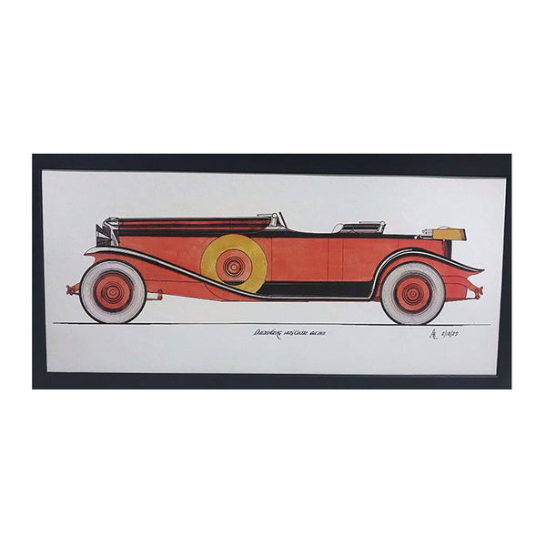 Alan Leamy illustrative color print of Self Portrait in Duesenberg Convertible Sedan.