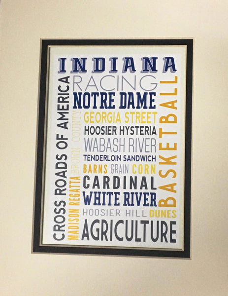 Indiana Typography matted print