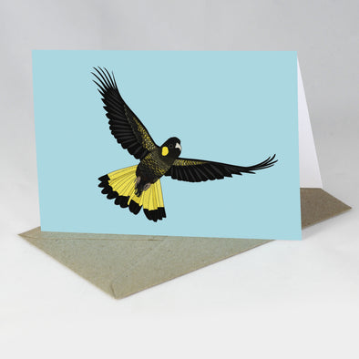 Australian Animal Card - Yellow-tailed Black Cockatoo