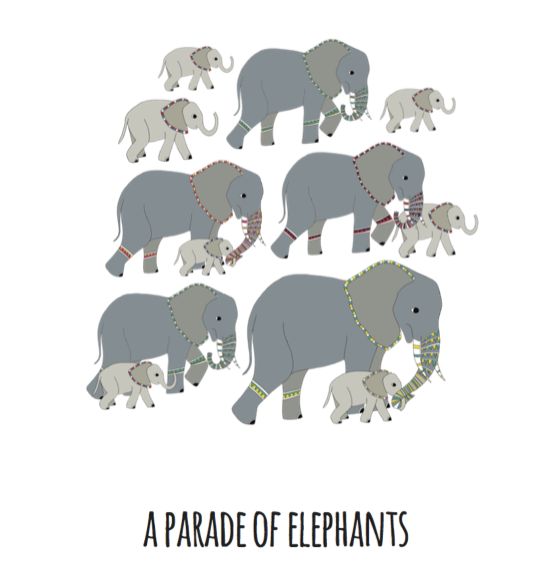 A Parade of Elephants Art Print