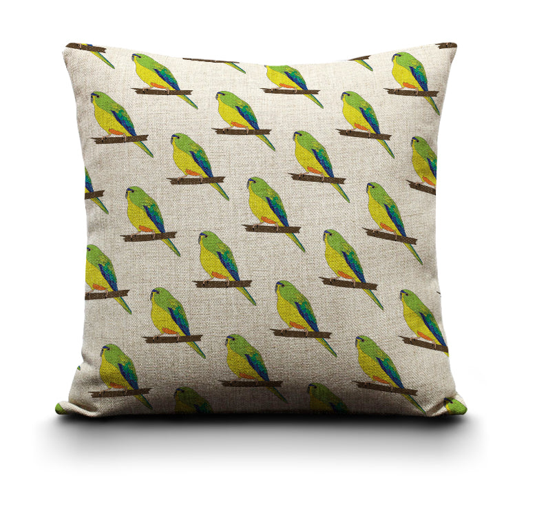 RP - Cushion Cover - Orange Bellied Parrot