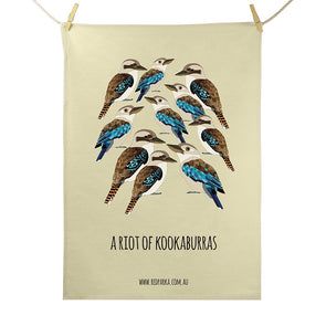 Riot of Kookaburras Tea Towel