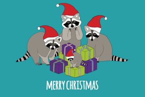 Raccoons Christmas Card - Red Parka