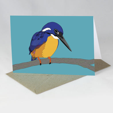 Endangered Animal Card - Azure Kingfisher