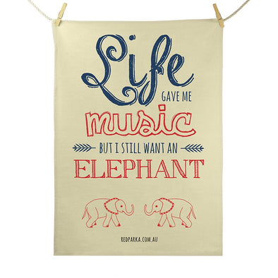 Music Elephant Tea Towel