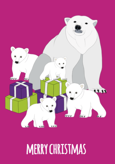 Polar Bears Christmas Card - Red Parka