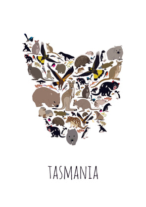 Tasmanian bushfire relief animal print